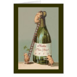 Pigs and Champagne; Cute Funny Vintage New Year's Card