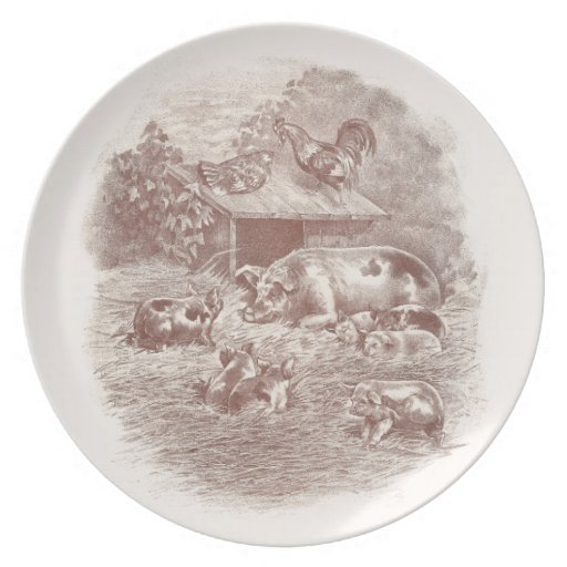 Pigs and Chickens in Barnyard Party Plates
