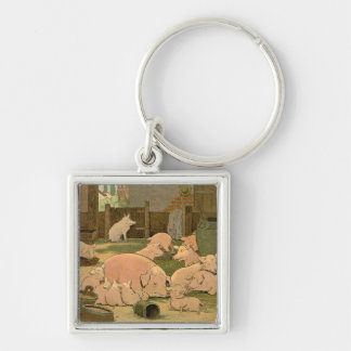 Pigs and Piglets on the Farm Silver-Colored Square Key Ring