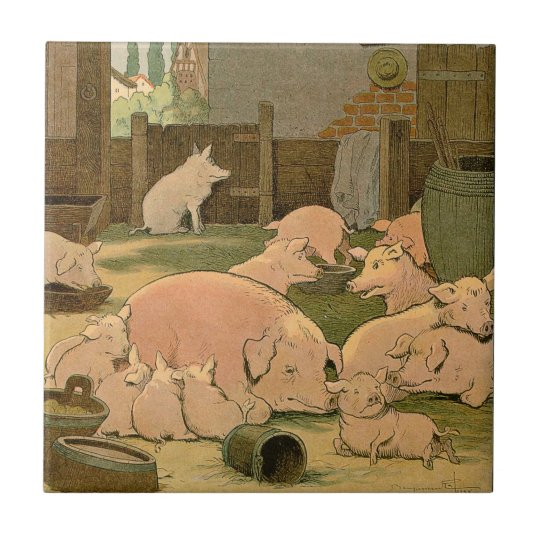 Pigs and Piglets on the Farm Small Square Tile