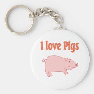 Pigs Basic Round Button Key Ring