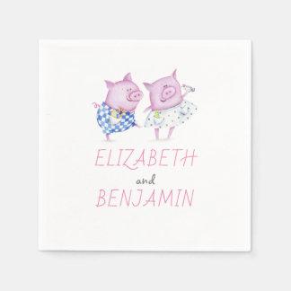 Pigs Couple Cute Paper Napkin