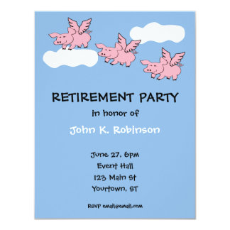 Pigs Fly Funny Retirement Party Invitation