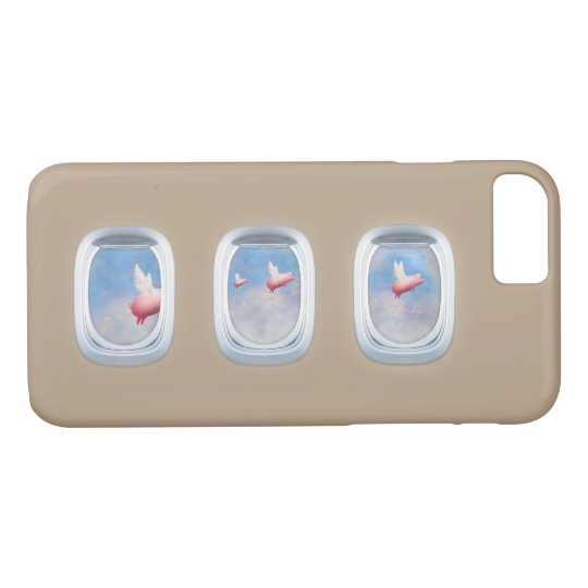 pigs flying past aeroplane windows iPhone 8/7 case