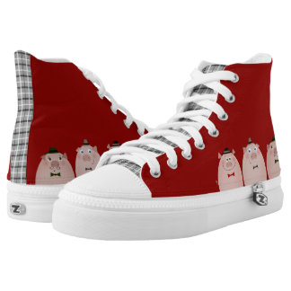 Pigs Funny Cartoon Dandy Retro Fashion Tartan Red High Tops