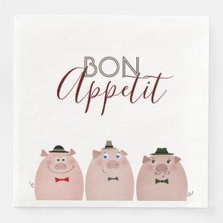 Pigs Funny Elegant Dandy Gentleman Bon Appetit Disposable Napkin