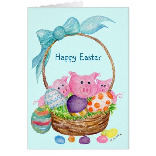 Pigs Happy Easter Card. Pigs, eggs, Easter basket