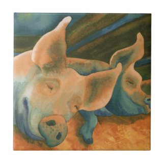 Pigs, Hogs Small Square Tile