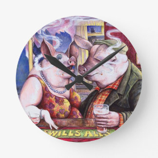 Pigs in a Pub Wall Clock
