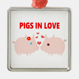 pigs in love christmas ornament