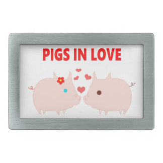pigs in love rectangular belt buckle