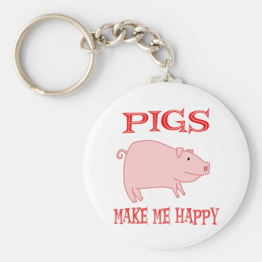 Pigs Make Me Happy Basic Round Button Key Ring