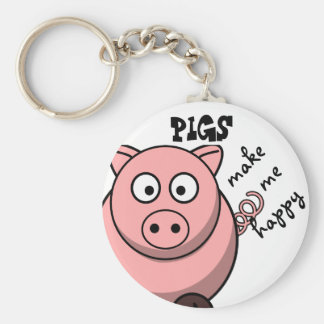 Pigs Make Me Happy Key Ring