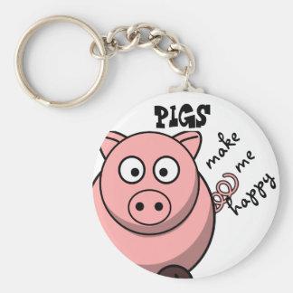 Pigs Make Me Happy Key Ring