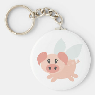 Pigs Might Fly Basic Round Button Key Ring
