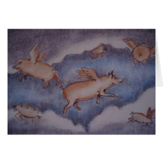 pigs might fly... greeting card