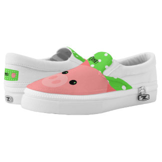 Pigs on Polka Dots Slip-on Shoes