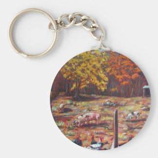 Pigs & Roosters Basic Round Button Key Ring