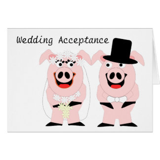 Pigs Wedding Acceptance Card