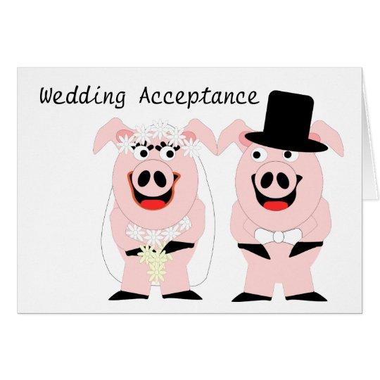 Pigs Wedding Acceptance Card