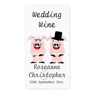 Pigs Wedding Wine Shipping Label