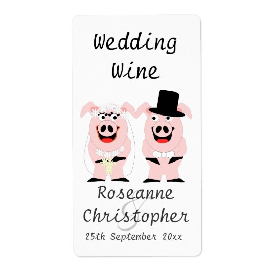 Pigs Wedding Wine Shipping Label