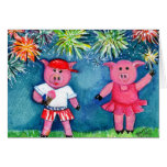 Pigs with Fireworks Greeting Card