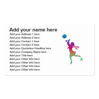Pigtailed girl playing with a ball... pack of standard business cards