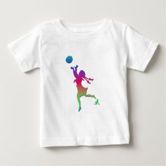 Pigtailed girl playing with a ball... shirt