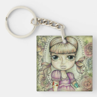Pigtails and Tattoo's Single-Sided Square Acrylic Key Ring