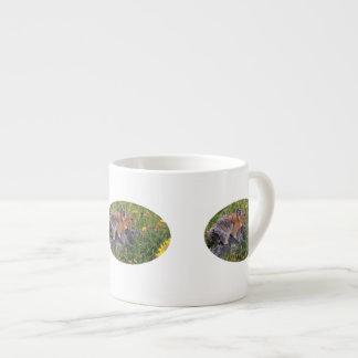 pika and flowers espresso mug