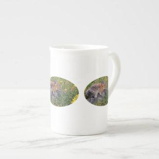 pika and flowers porcelain mugs