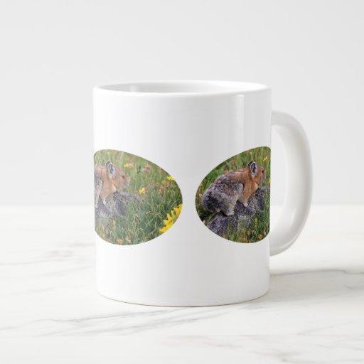 pika and flowers extra large mug