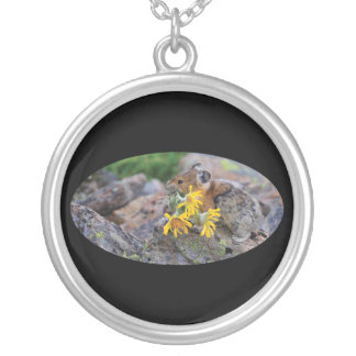 Pika and Wildflowers Round Pendant Necklace