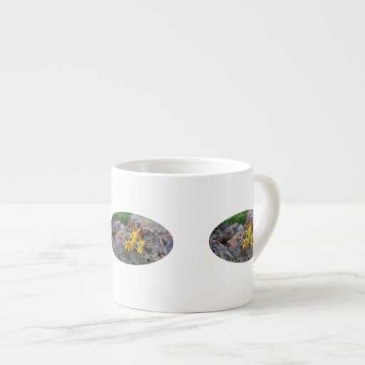 pika carrying wildflowers espresso mug