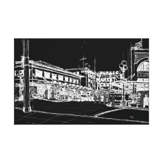 Pike Place Market, Seattle. Night Sky. Canvas Print