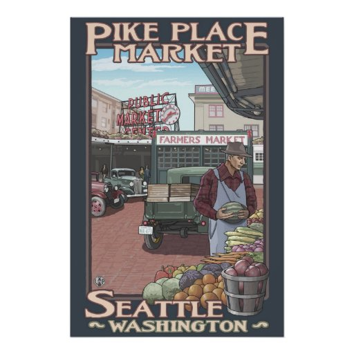 Pike Place Market - Seattle, WA Travel Poster