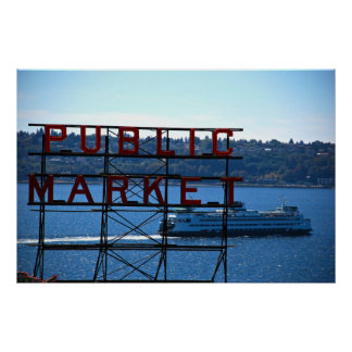 Pike Place Market Seattle Waterfront Print