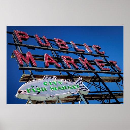 Pike Place Public Market Sign Print