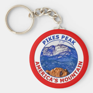 Pikes Peak America's Mountain Basic Round Button Key Ring