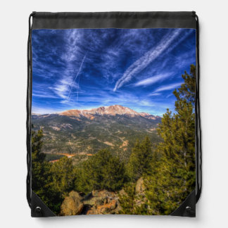Pikes Peak and Blue Sky Drawstring Bag