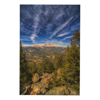 Pikes Peak and Blue Sky Wood Print