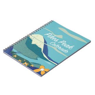 Pikes Peak Colorado vintage style travel poster Spiral Notebook