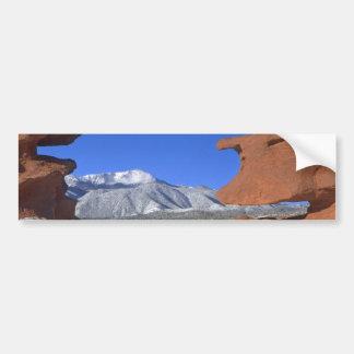 Pikes Peak through Sandstone Hole 01 Bumper Sticker