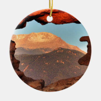 Pikes Peak through Sandstone Hole 02 Christmas Ornament