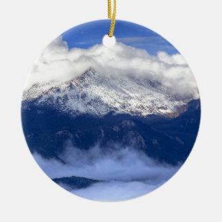 Pikes Peak with Fresh Snowfall and Clouds Round Ceramic Decoration