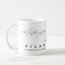Mug featuring the name Pilar spelled out in the single letter amino acid code
