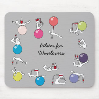 Pilates for wine lovers mousemat, grey mouse pad