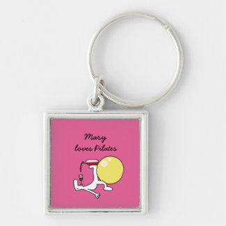 Pilates for wine lovers square keychain, pink key ring