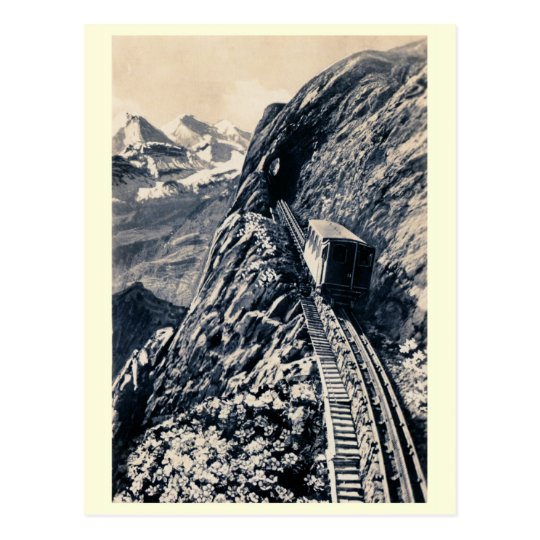 Pilatus steepest mountain rack railway postcard